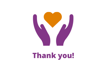 "Image shows purple hands holding an orange heart with the words ""thank you"" underneath"